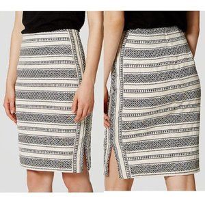 LOFT Cream & Black Mosaic Stripe Pencil Skirt 6